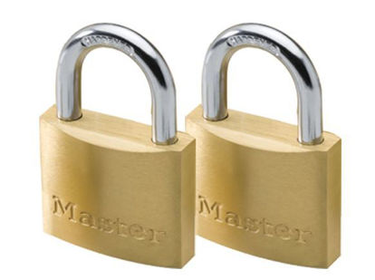 Picture of Master Lock 30MM Hard Steel Shackle, 2 Pieces Key-Alike Brass Padlock, MSP1901T