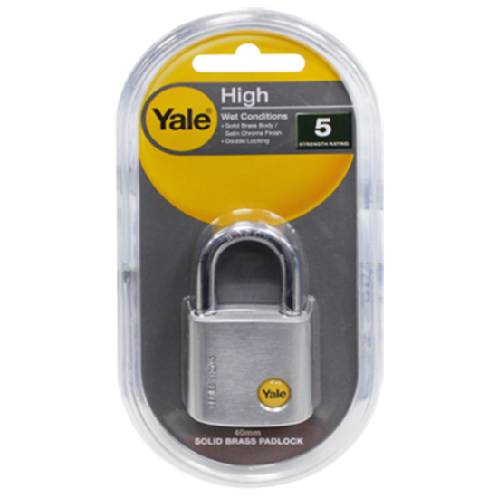 Picture of Yale Y120/40/125/1, Solid Brass Padlock, Satin Chrome 40mm, Y120401251