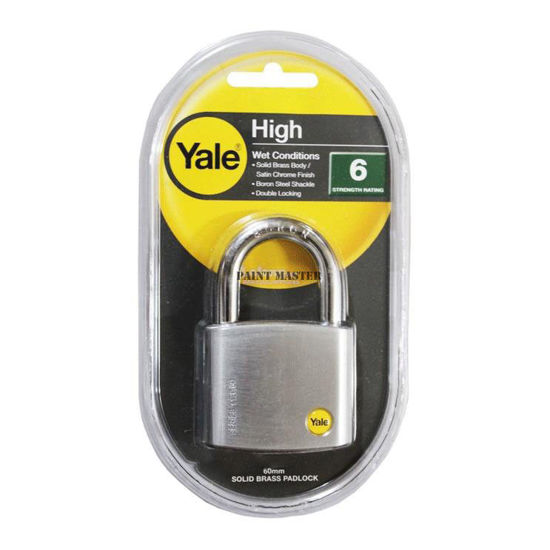 Picture of Yale Y120/60/135/1, Silver Series Solid Brass Padlock 60mm, Y120601351