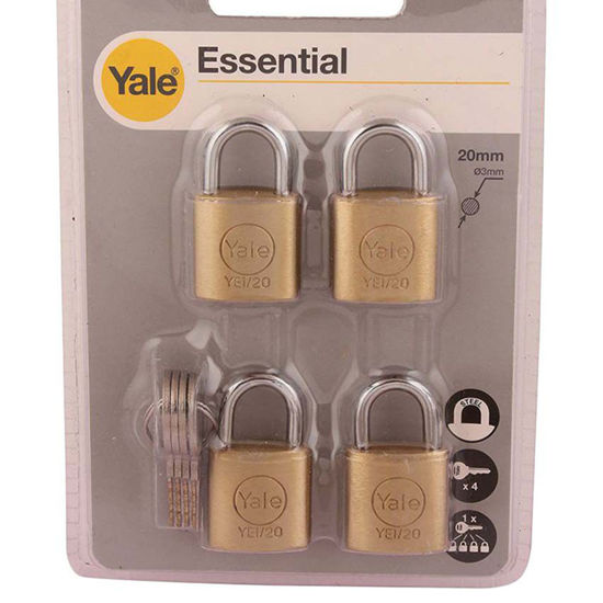 Picture of Yale YE1/20/111/4, Essential Series Indoor Solid Brass Padlock 20mm, YE1201114