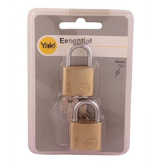 Picture of Yale YE1/30/115/2, Essential Series Indoor Solid Brass Padlock 30mm, YE1301152