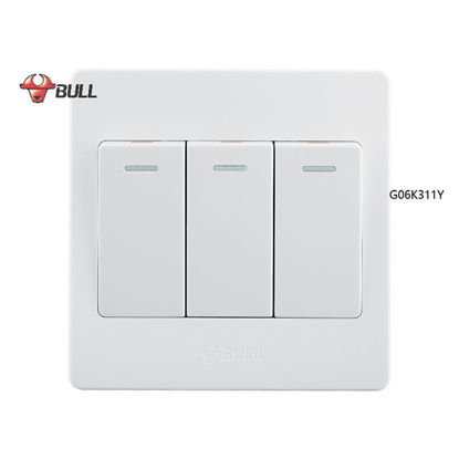 Picture of Bull 3 Gang 1 Way Switch Set (White), G06K311Y
